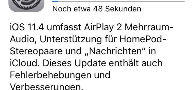 iOS 11.4 mit Airplay2 Unterstützung freigegeben
